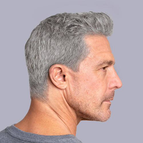 Man who has fully gray hair